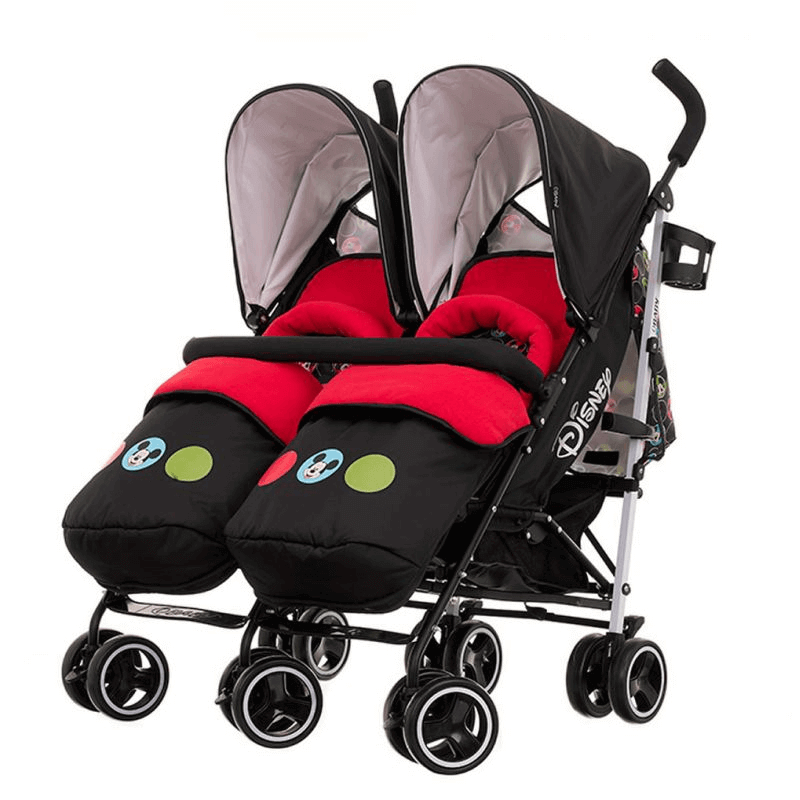 Obaby Disney Twin Stroller | Double Pushchair | Mickey Circles
