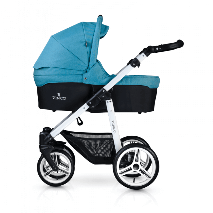 Venicci Soft 3-in-1 Travel System - Denim Sky / White - Carrycot