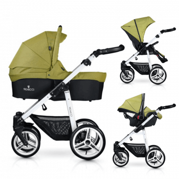 Venicci Soft 3-in-1 Travel System - Denim Green / White