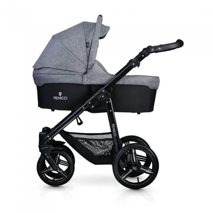Venicci Soft 3-in-1 Travel System - Denim Grey / Black - Carrycot