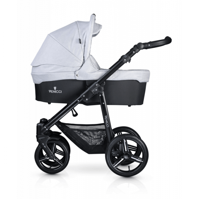 Venicci Soft 3-in-1 Travel System - Light Grey / Black - Carrycot