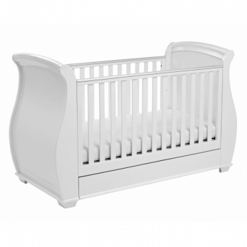Bel Sleigh Dropside Cot Bed with Drawer - White 3