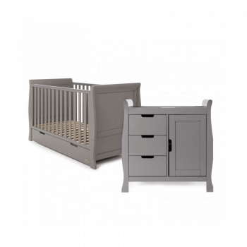 Obaby Stamford Cot Bed 2 Piece Room Set - Taupe Grey