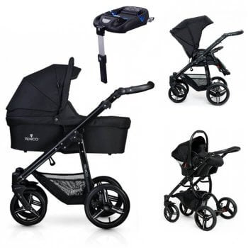 Venicci Soft 3-in-1 Travel System & Isofix Base - Black / Black