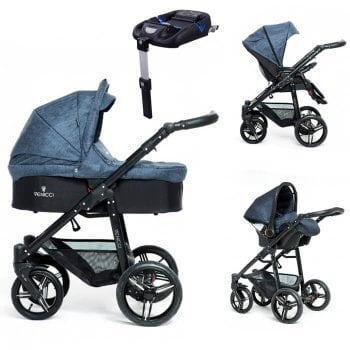 Venicci Soft 3-in-1 Travel System & Isofix Base - Denim Blue / Black