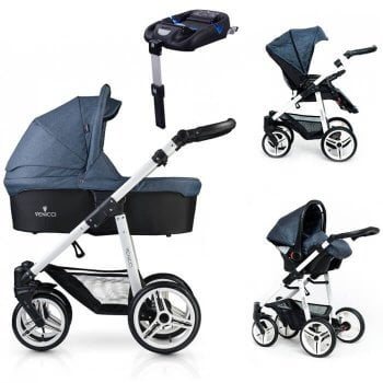 Venicci Soft 3-in-1 Travel System & Isofix Base - Denim Blue / White