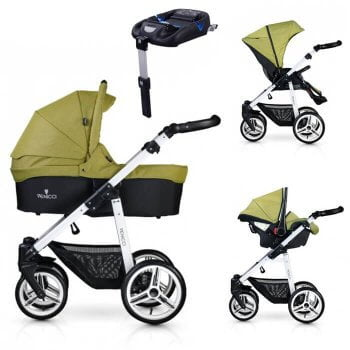 Venicci Soft 3-in-1 Travel System & Isofix Base - Denim Green / White