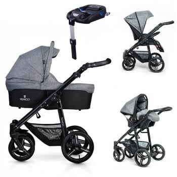 Venicci Soft 3-in-1 Travel System & Isofix Base - Denim Grey / Black