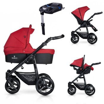 Venicci Soft 3-in-1 Travel System & Isofix Base - Denim Red / Black