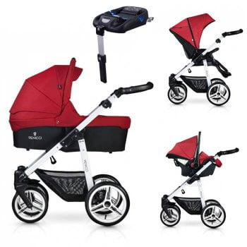 Venicci Soft 3-in-1 Travel System & Isofix Base - Denim Red / White