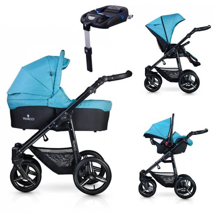 Venicci Soft 3-in-1 Travel System & Isofix Base - Denim Sky / Black