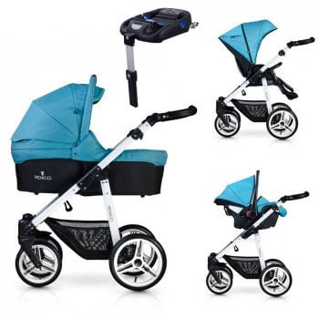 Venicci Soft 3-in-1 Travel System & Isofix Base - Denim Sky / White