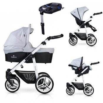 Venicci Soft 3-in-1 Travel System & Isofix Base - Light Grey / White